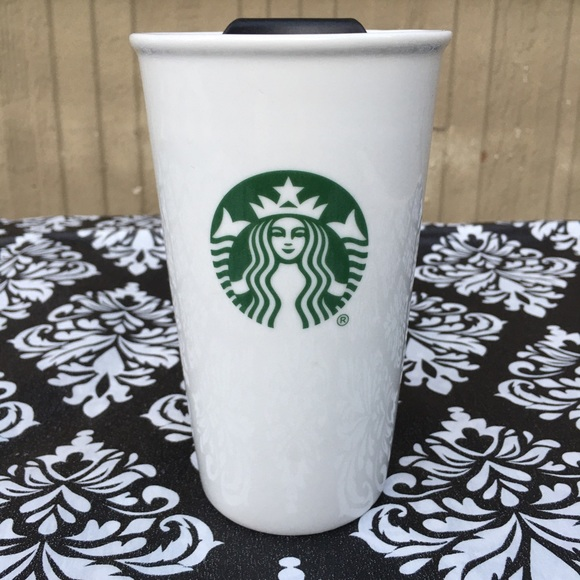 Starbucks White Ceramic 10 oz Tumbler Green Logo